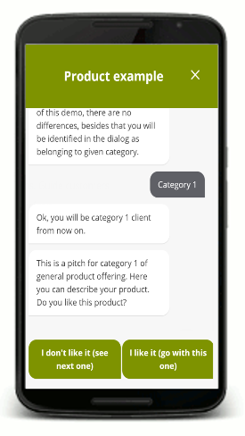 Leadia chat product example